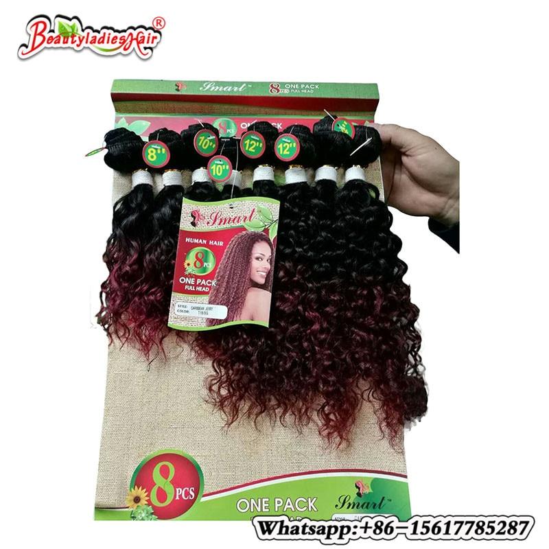 8 stycken av ombre kinky lockigt hår mänsklig väv Billiga Kinky - Syntetiskt hår - Foto 3