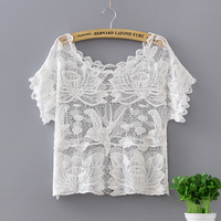 Crop Top Embroidered Roupas Off White Hollow Short Sleeve Loose Lace Hook Flower Crochet Women Blouse