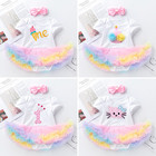 Baby Girl First Birthday Outfit Ensemble One Year Little Girl Dress Clothing Baby Child Summer Clothes Infant Christening Suits