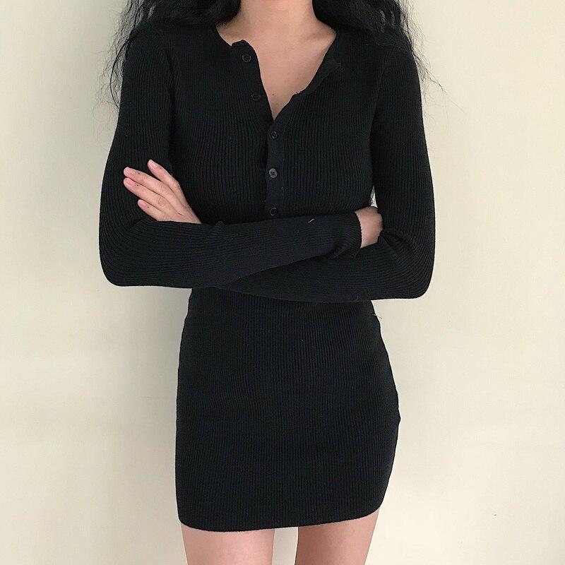 Кармашек на пуговицах Сексуальные облегающие с длинными рукавами вязать для похудения платье женская одежда 2018 вечерние платье плюс Разме