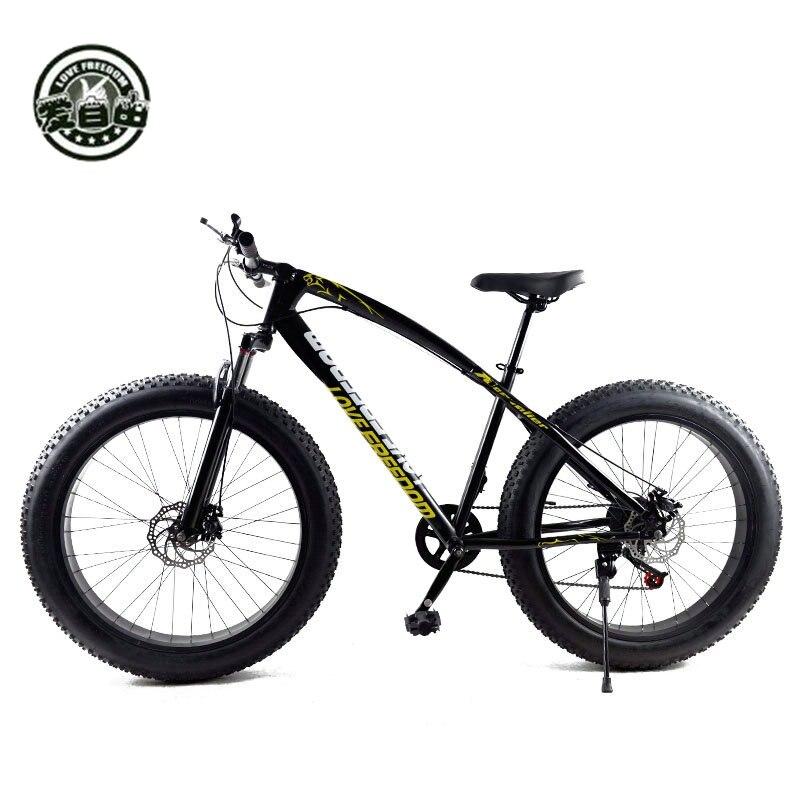 Aiment La Liberté Vente Chaude 7/21/24/27 Vitesse Moto Neige 26-pouces 4.0 Graisse Vélo mécanique frein à disque Vtt Livraison gratuite