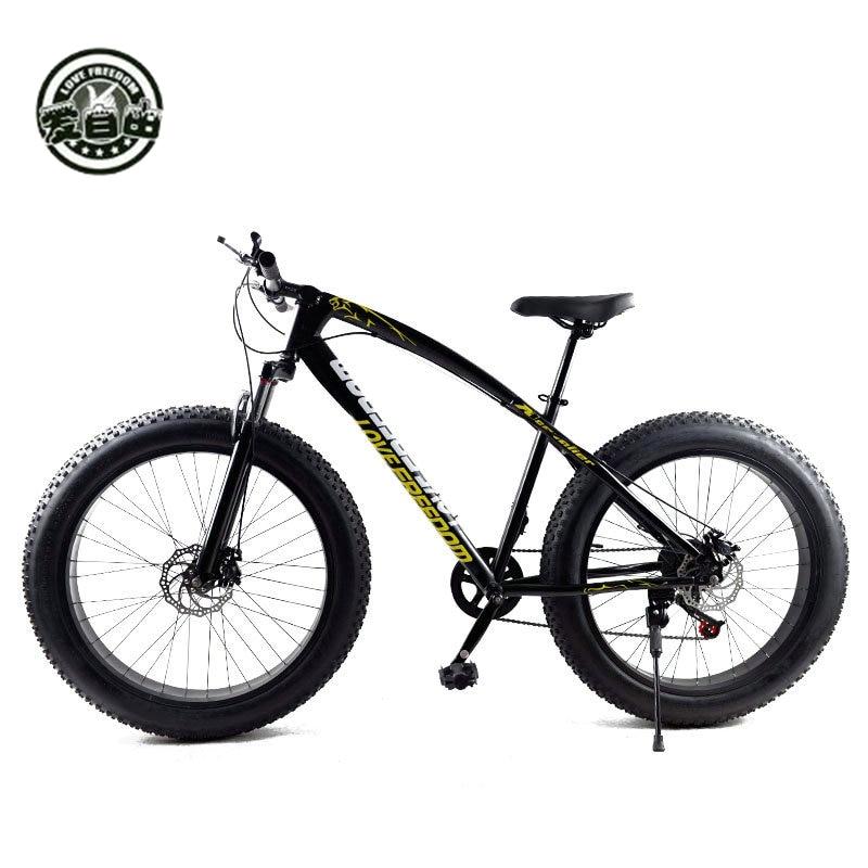Liebe Freiheit Heißer Verkauf 7/21/24/27 Geschwindigkeit Snow Bike 26-zoll 4,0 Fett Fahrrad Mechanische scheiben gummibrems Mountainbike Kostenlose Lieferung