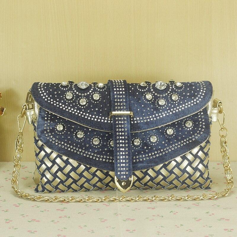 2017 mode vrouwen tas denim casual lady schoudertassen designer handtassen hoge kwaliteit weven jean tassen vrouw portemonnees-in Schoudertassen van Bagage & Tassen op  Groep 1