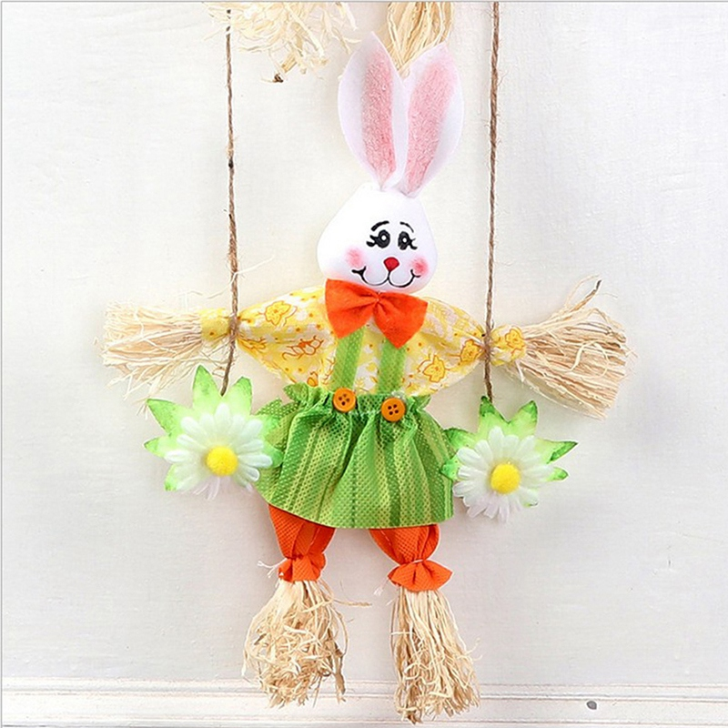 Image 5 - Hot Double Bunny Easter Pendant Pendant Home Shop Decoration Door Ornaments 2Pcs-in Figurines & Miniatures from Home & Garden