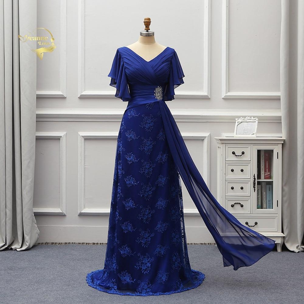 Short Sleeves Mother Bride   Dresses   Plus Size Long   Evening   Formal   Dresses   Women Lace vestido de noiva abiye gece elbisesi EV03