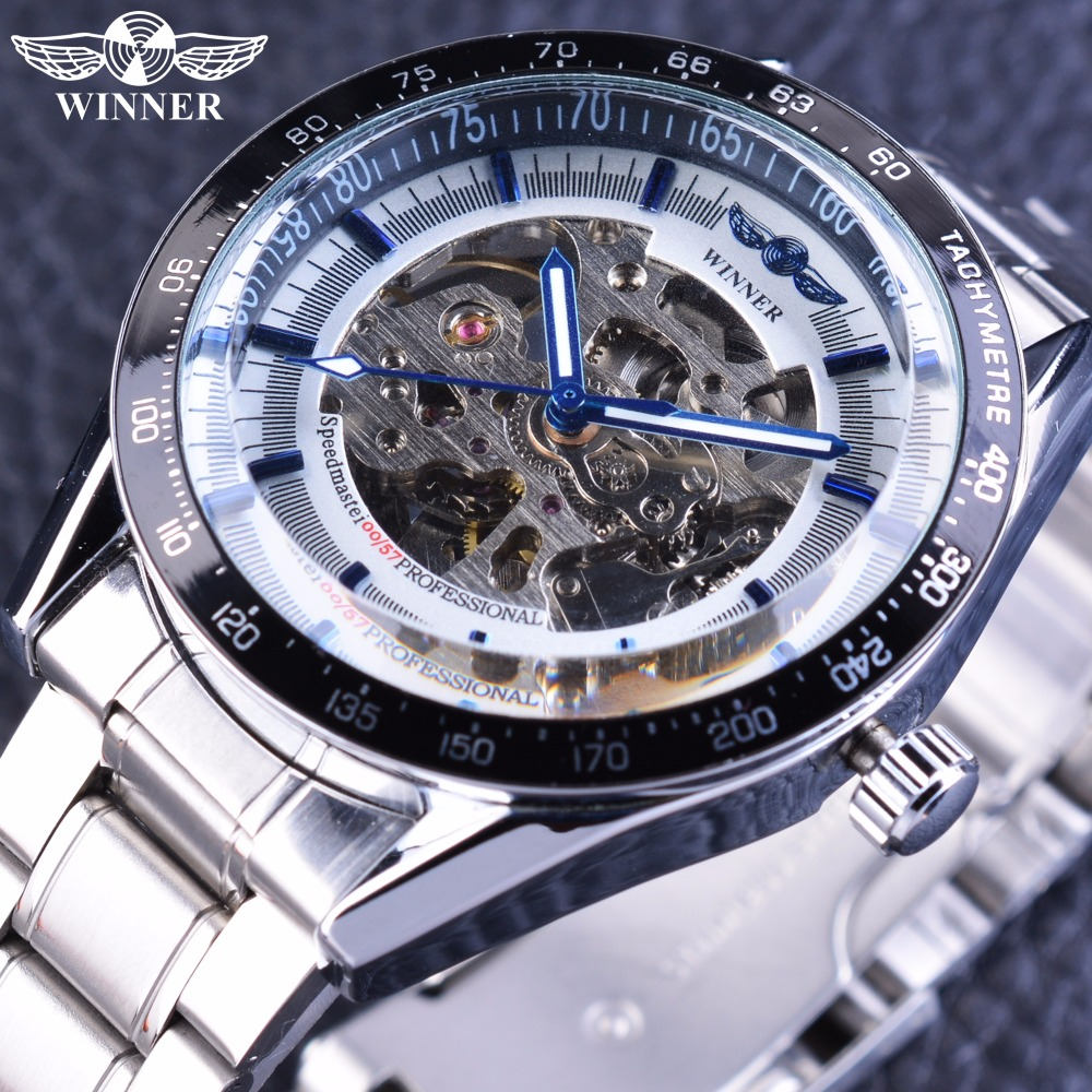 Winner Blue Hands 2017 Full Stainless Steel Skeleton Open Work Design Automatic Men's Wrist Watch Top Brand Luxury Mechanical stylish 8 led blue light digit stainless steel bracelet wrist watch black 1 cr2016