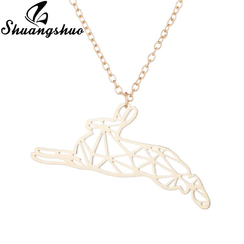 Cute Animal Bunny geometric Necklace bunny necklace origami necklace