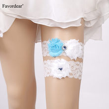 Favordear White Lace Three Flowers Wedding Garter with Blue Rhinestone 2 PC Elastic Band Fashion Bridal Garter Belt for Women(China)