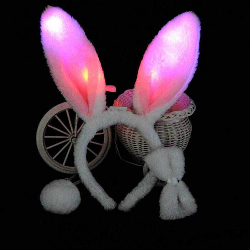 Light Flashing LED Plush Fluffy Bunny Rabbit Ears Headband Tail Tie Costume  accessory Cosplay Woman Girl 733d29b4efba