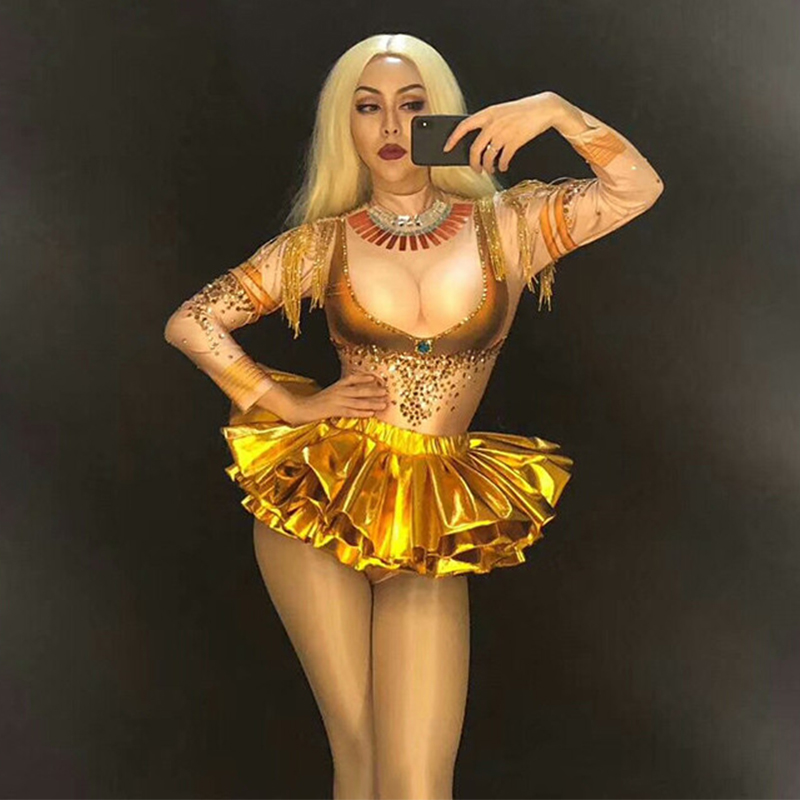 Sexy Gold Rhinestones Tassel Bodysuit Stage Dance Wear Leotard Costume Singer Nightclub Performance Dress Stretch Outfit DN3209