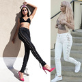 2016 fashion women boyfriend punk high waist hollow out lace up denim pencil skinny jeans pantalone vaqueros mujer pants trouser