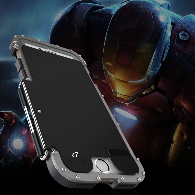 sale retailer e1b92 b37b4 US $26.97 25% OFF|Luxury Doom Metal Armor Life Dirt Shockproof Aluminum  Cover Case for IPhone 7 Plus Armor King Iron Man Steel Flip Case R just-in  ...