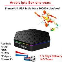 Caixa de IPTV arábica 1 Ano 3000 + Assinatura EUA REINO UNIDO Espanha Bélgica Itália Índia Nórdico Brasil França Canais Smart Tv m3u enigma2