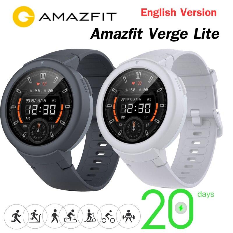 Mais novo origina amazfit verge lite smartwatch 20 dias vida útil da bateria huami verge2 gpswatch amole tela colorida versão global