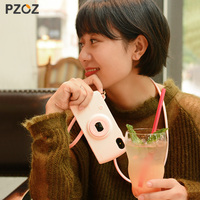 Pzoz للآيفون x مع الحبل كاميرا نمط 3d الأزياء 10 حالة الهاتف لطيف الكرتون سيليكون واقية قذيفة كوكه الفتيات مضحك