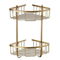 1pc Shower Basket Double Layer Copper Wall Mount Antique Shelf Organizer Basket Storage Rack for Toilet Bathroom