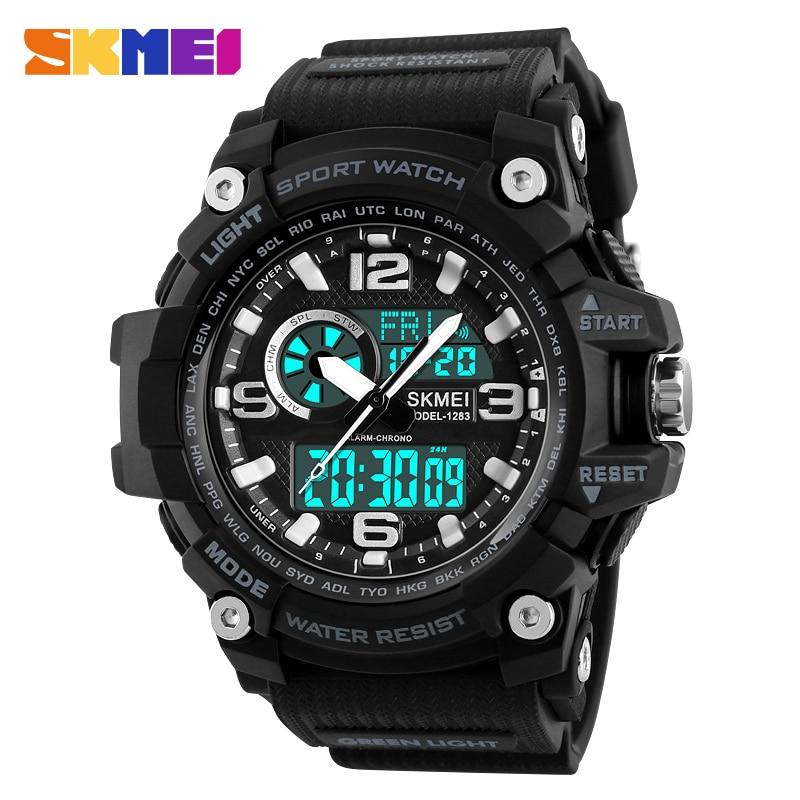 Azul del reloj SKMEI deportes hombres multifunción relojes de moda al aire libre de doble pantalla Digital de cuarzo Chrono Relogio Masculino 1283