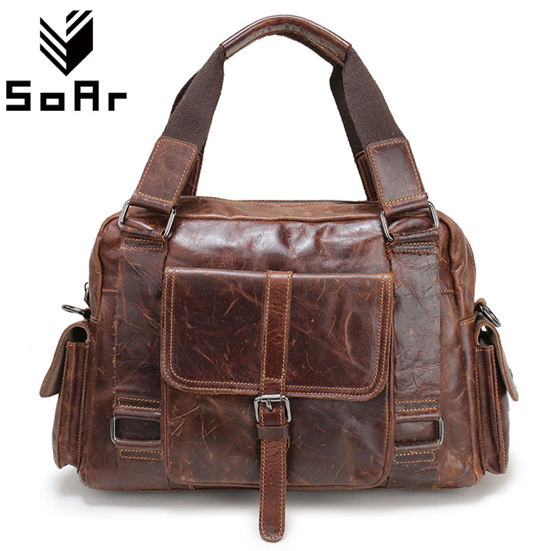 SoAr Genuine Leather Men Bags Crossbody Shoulder Bag For Men Briefcase Handbag High Quality Men Messenger Bags Male Travel Bag senkey style simple fashion genuine leather men bags high quality men s crossbody bag male casual handbag shoulder messenger bag