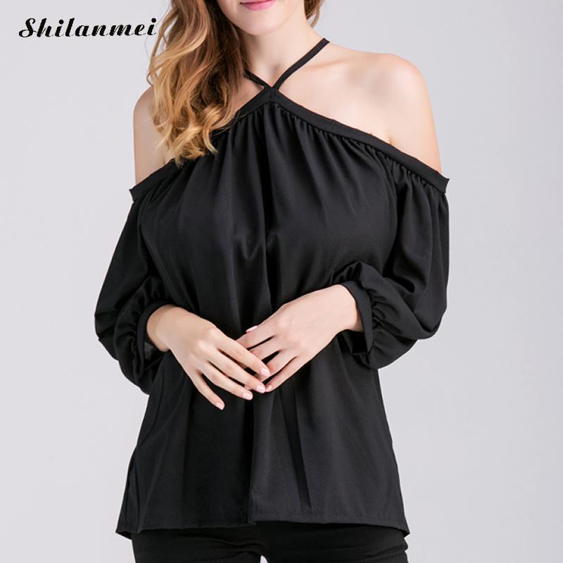 ef45c5a4026 ▻2017 Для женщин холодной плечевой ремень Длинные рубашки ...