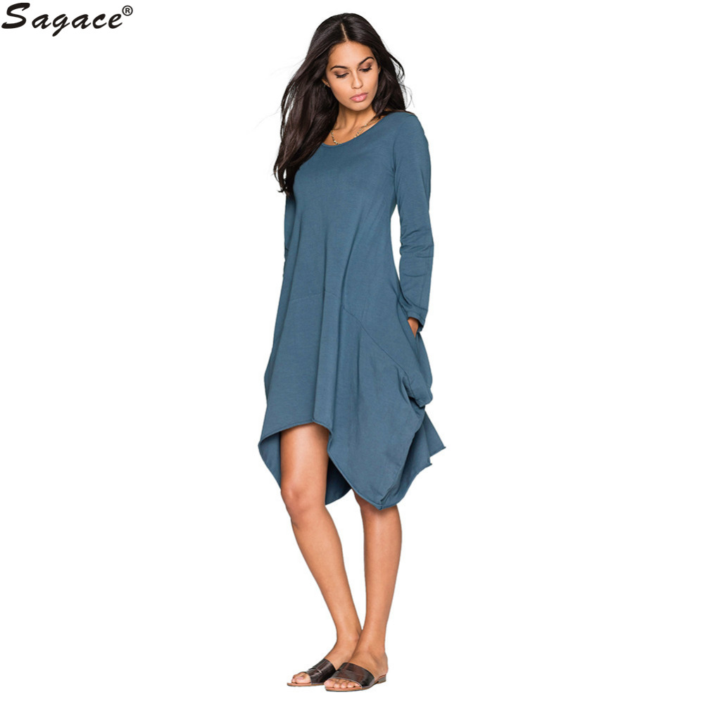 Modern dress casual - Modern 7colors Irregular Pocket Loose A Line Dress Casual Spring Autumn Women Long Sleeve Cotton Dress Lady Girl Vestidos Oct13
