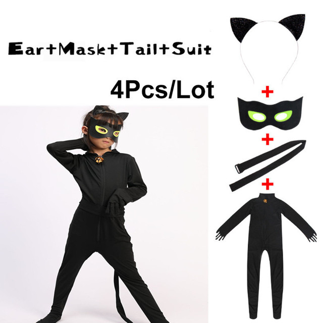 Halloween Cat Noir Jumpsuit+Mask Costume