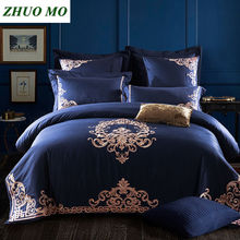 Embroidery Luxury Royal Bedding Set King Queen Size 60S Egyptian Cotton Silky 4/6pcs Boho Bed Duvet Cover sheet set