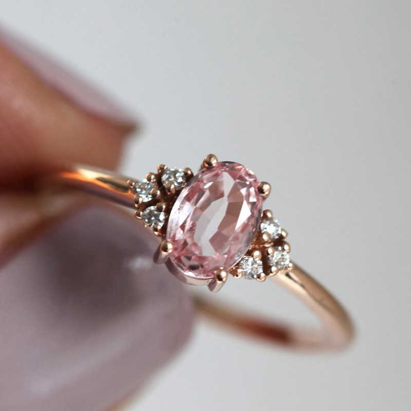 Tisonliz Dainty Cute Pink Crystal Rings Wedding Engagement Finger Rings For Women Girls Rings Gift Femme Jewelry Wholesale