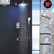 LED Bathroom Shower Set Faucet Thermostatic Bath Shower Valve Chrome Shower Panel Brass Rain Shower Head недорого