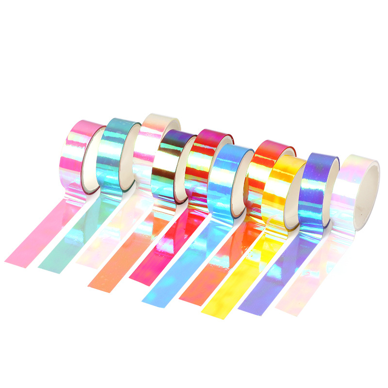 10 Pcs Washi Tape Masking Tapes Set Laser Stickers Scrapbooking Wash Cinta Adhesiva Decorativa Washitape Fita Adesiva Glitter