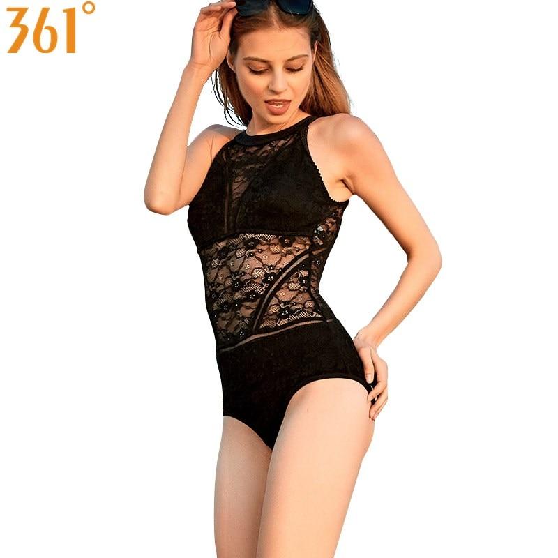 361 femmes maillot de bain une pièce noir Monokini Transparent maille Bikini maillots de bain 2018 Sexy dos nu maillot de bain femme maillot de bain
