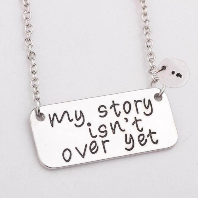Mind inspirational my story isnt over yet bar pendant necklaces mind inspirational my story isnt over yet bar pendant necklaces semicolon silver collar aloadofball Images