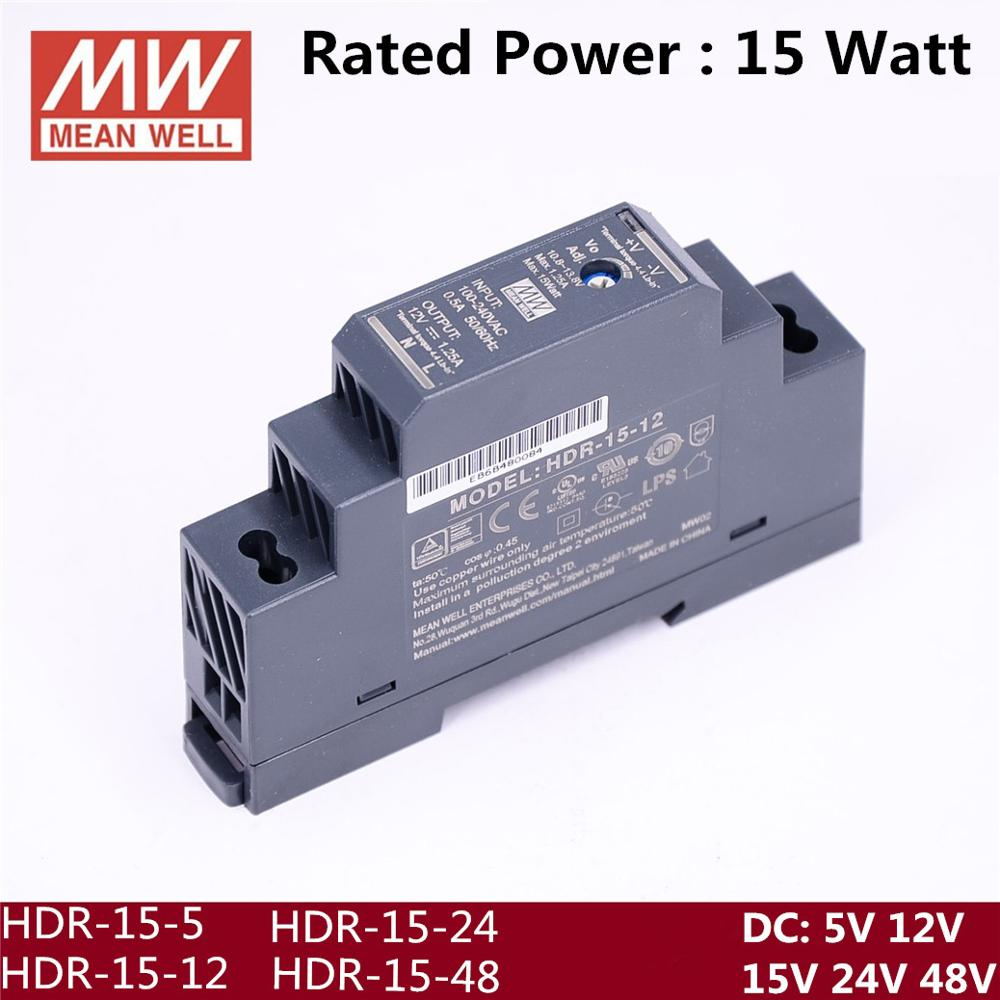 5V 12V 15V 24V 48V MEAN WELL 12W 15W 2.4A 1.25A 1A 0.63A  0.32A Industrial DIN Rail Power Supply HDR-15-5 HDR-15-12  HDR-15-24