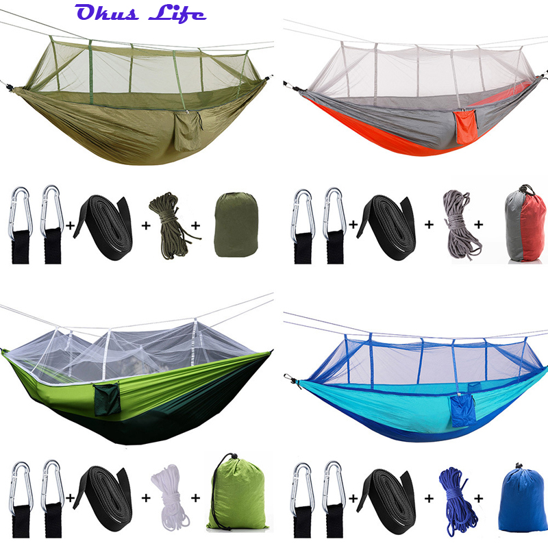 Upgraded New 260x140cm Outdoor Mosquito Net Parachute Hammock Portable Camping Hanging Sleeping Bed High Strength Sleeping SwingUpgraded New 260x140cm Outdoor Mosquito Net Parachute Hammock Portable Camping Hanging Sleeping Bed High Strength Sleeping Swing
