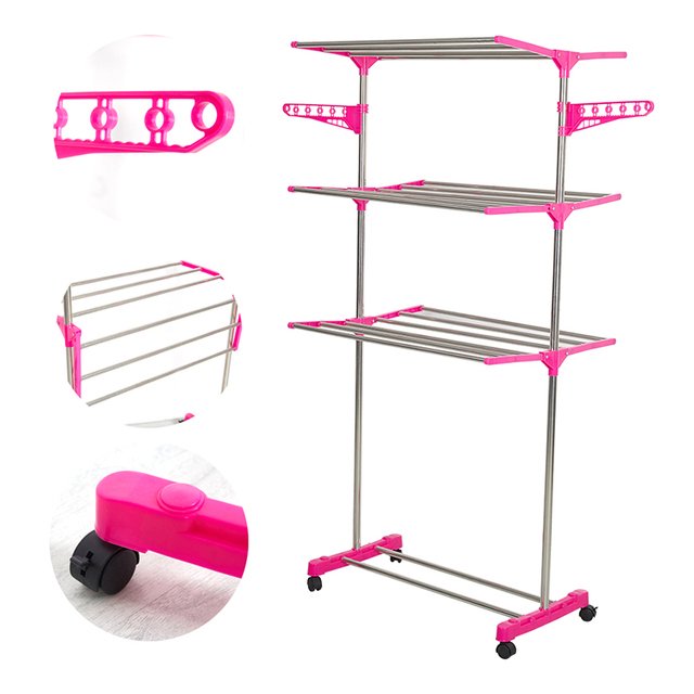 Portable Double Rods Clothes Rack Adjustable Garment Rack  With Wheels 3  Tiers Storage Shelves