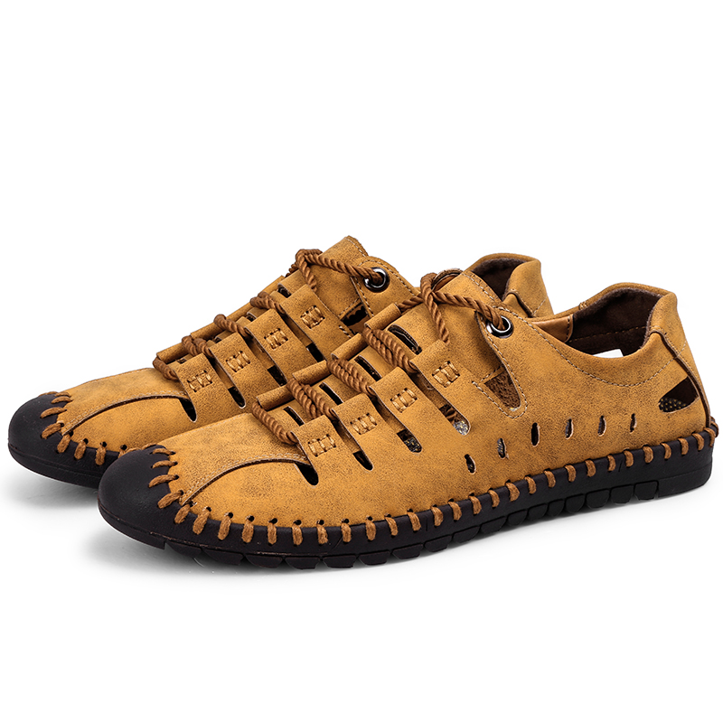 Lace up Genuine Leather Sandals Men 39 s Casual Sewing sneakers Outdoor Beach Shoes Buckle Native Male Rubber Sole leisure Sandals in Men 39 s Sandals from Shoes