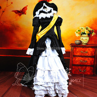 Аниме косплей женские черные Белый оборками Длинные Вышивка пайетками средневековом платье со шляпой Ренессанс Костюм Belle бальное платье