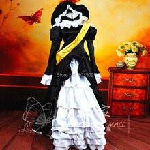 Vestido, anime cosplay mujeres negro blanco volantes largo lentejuelas bordado medieval con sombrero renacimiento traje Belle