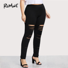 Plus Size Leggings High Waist Pants Stretchy Sweatpants Spring Fall Black Rock Elastic Waist Skinny Ladder Ripped Leggings