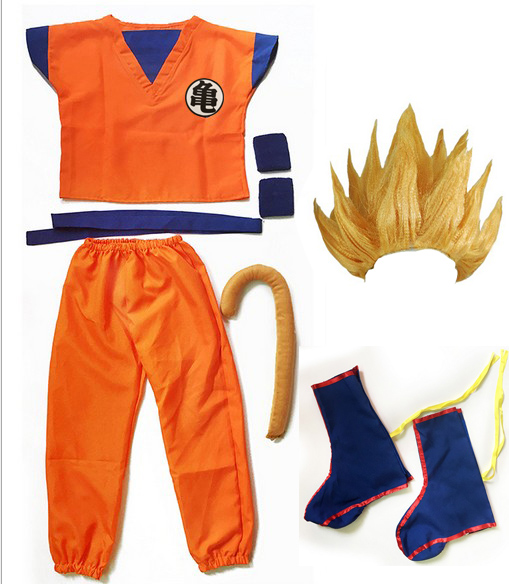 Dragon Ball Z Goku Cosplay Costume Top/Pant/Belt/Tail/wrister/Wig For Adult Kids