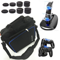 Ps4 jogo sistema de saco de armazenamento de viagem carry case bolsa + dual dock station carregador stand para playstation 4 de console ps4 + 8 pcs tampas