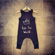 2018 хлопок новорожденных kidsd для маленьких мальчиков Обувь для девочек Корона Ползунки Черный рукавов комбинезоны наряды Одежда для малышей