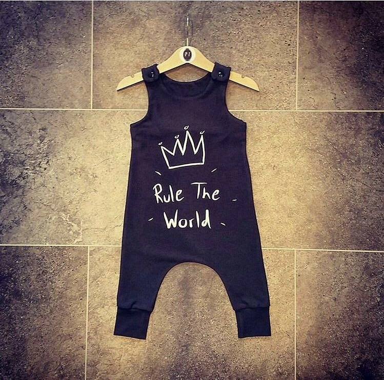 2018 Cotton Newborn Kidsd Baby Boy Girls crown   Romper   Black Sleeveless Jumpsuit Clothes Outfits Baby Clothing