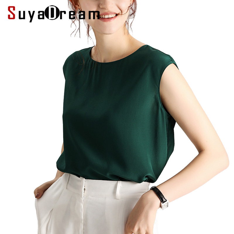 Women Blouse 100% REAL SILK Crepe Solid Sleeveles Blouse Shirt Office Lady O Neck Blouses 2019 Spring Summer Shirt