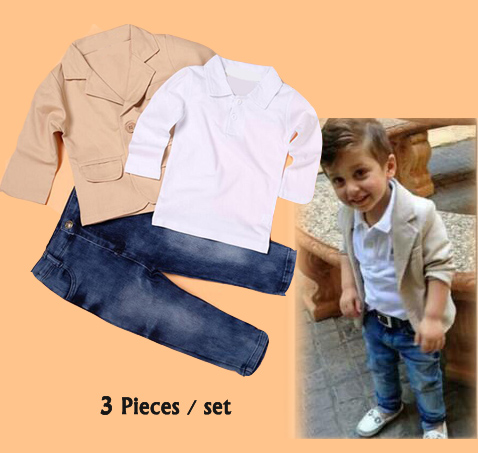 Children boys set clothing 3pcs/set ( Jeans+Shirt+Coat ) Kids casual sets clothes boys gentlemen suit for Baby boy 2-8 Years