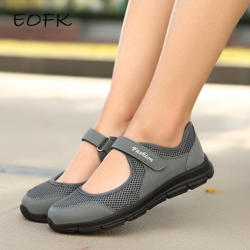 EOFK New Women Flats Shoes Women's Flat Mary Jane Female Ladies Mesh Fabric Breathable Gray Casual Comfortable Shoes Woman(China)
