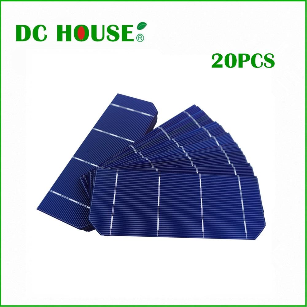 DC HOUSE 20pcs 156*58.5mm Photovoltaic Mono Monocrystalline Solar Cells Solar 6X2  for DIY 36W Solar Panel 1.8W/pcs