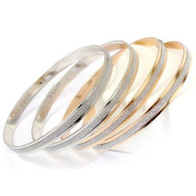 Hot Sale Trendy Crystal Bracelets for Women Silver Gold Bangles Stainless Steel Bangles Jewelry(China)