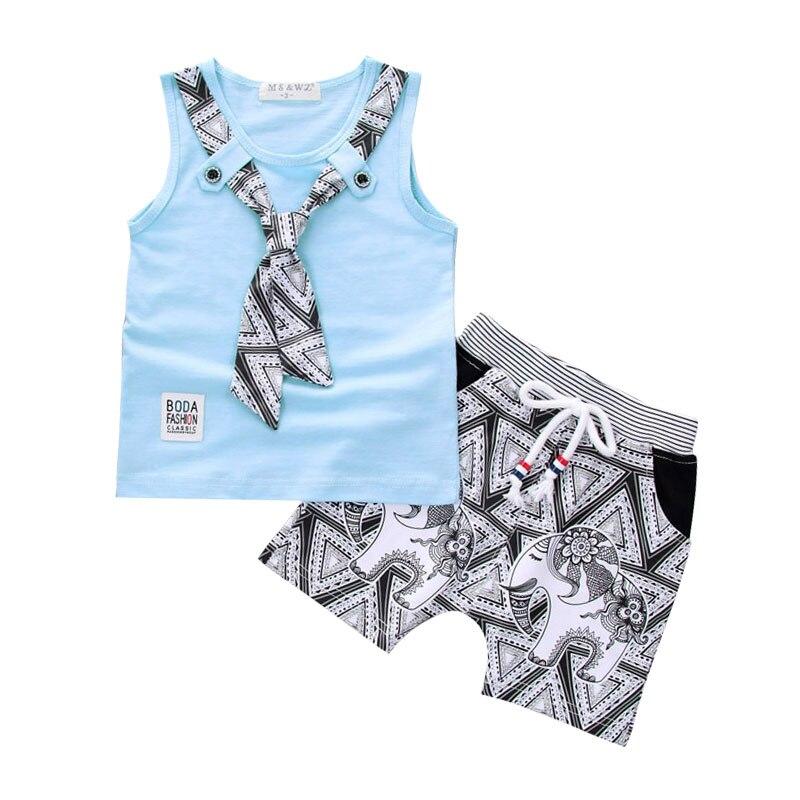 Baby Boys Suit Tie T-shirt Cartoon Short Pants Baby Toddler Clothes 2018 Summer Vest Sho ...