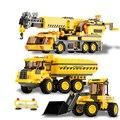 KAIZI Crianças brinquedos educativos carros Da Cidade guindaste Do Caminhão DIY Iluminai Building block define Compatível com presente de Natal lego