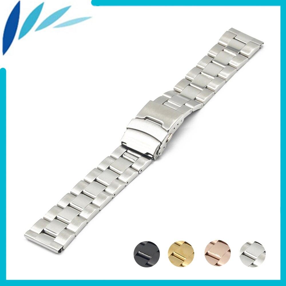 Stainless Steel Watch Band 20mm 22mm for Luminox Safety Clasp Strap Loop Belt Bracelet Black Rose Gold Silver + Spring Bar luminox strap fn 3950 36q black orange